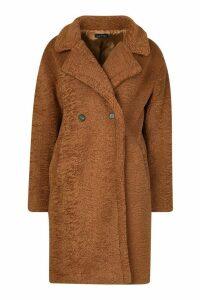 Womens Premium Teddy Fur Coat - beige - M, Beige