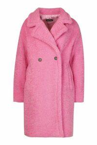 Womens Premium Teddy Fur Coat - Pink - M, Pink
