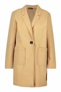 Womens Petite Single Breasted Pocket Detail Wool Look Coat - beige - 14, Beige