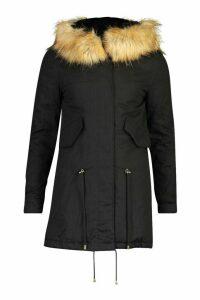 Womens Petite Faux Fur Trim Parka - black - 10, Black