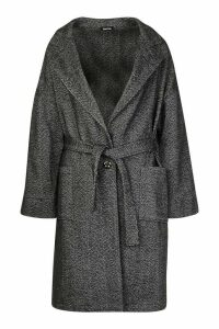 Womens Herringbone Belted Wool Look Coat - grey - 14, Grey