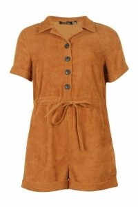 Womens Baby Cord Button Front Playsuit - orange - 16, Orange