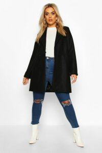 Womens Plus Double Breasted Coat - black - 20, Black