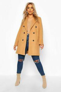 Womens Plus Double Breasted Coat - beige - 16, Beige