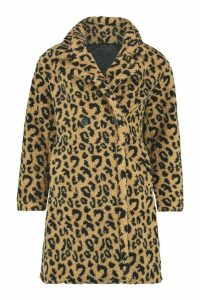 Womens Leopard Printed Teddy Fur Coat - beige - L, Beige