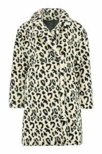 Womens Leopard Printed Teddy Fur Coat - beige - M, Beige