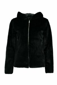 Womens Hooded Faux Fur Coat - black - 8, Black