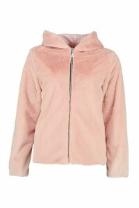Womens Hooded Faux Fur Coat - pink - 16, Pink