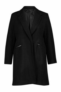Womens Plus Zip Pocket Tailored Coat - black - 16, Black