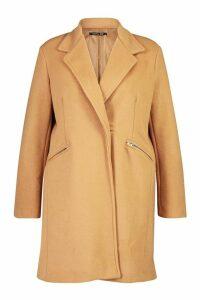 Womens Plus Zip Pocket Tailored Coat - beige - 20, Beige