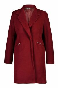 Womens Plus Zip Pocket Tailored Coat - 20, Red