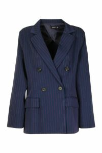 Womens Oversized Masculine Fit Blazer - navy - 16, Navy