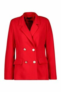 Womens Double Breasted Boxy Military Blazer - red - 14, Red
