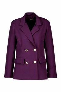 Womens Double Breasted Boxy Military Blazer - purple - 14, Purple