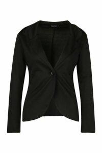 Womens Button Front Blazer - black - 14, Black