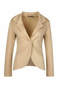 Womens Button Front Blazer - beige - 14, Beige
