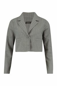 Womens Crop Pinstripe Blazer - grey - 14, Grey