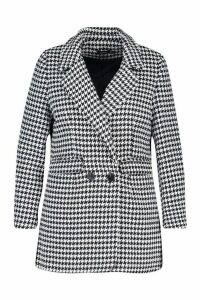 Womens Plus Dogtooth Heavy Weight Blazer - black - 20, Black