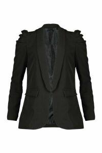 Womens Puff Shoulder Blazer - black - M, Black