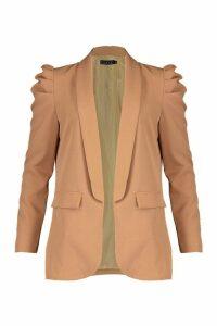 Womens Puff Shoulder Blazer - beige - M, Beige