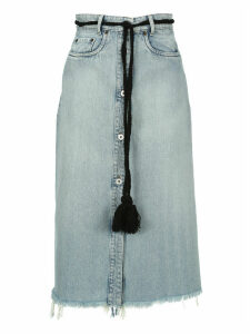 Miu Miu Tassel Belt Denim Midi Skirt
