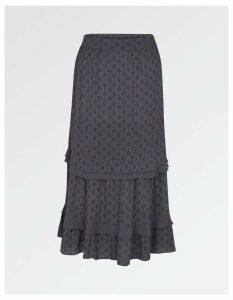 Fat Face Jean Diamond Dot Tiered Skirt
