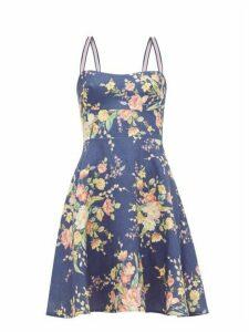 Zimmermann - Zinnia Floral-print Linen Dress - Womens - Blue Print