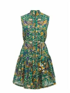 Zimmermann - Edie Folk Print Cotton Mini Dress - Womens - Green Print