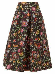 La Doublej - Santa Monica Babe Print Wool Blend A Line Skirt - Womens - Black Print