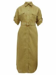 Zimmermann - Super Eight Belted Linen Midi Dress - Womens - Khaki