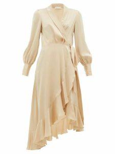 Zimmermann - Super Eight Silk Wrap Midi Dress - Womens - Beige