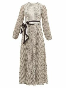 Zimmermann - Sunray Pleated Polka-dot Chiffon Dress - Womens - Black Cream