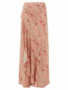 Adriana Degreas - Aloe Print Ruffled Tie Front Skirt - Womens - Pink Print