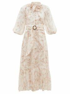 Zimmermann - Super Eight Palm Tree Print Belted Chiffon Dress - Womens - Cream Print