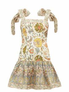 Zimmermann - Edie Floral-print Linen Mini Dress - Womens - Green Print