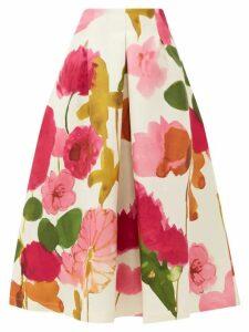 La Doublej - Macaron Floral Print Wool Blend Skirt - Womens - White Print
