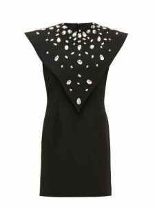 Christopher Kane - Crystal Overlay Crepe Mini Dress - Womens - Black