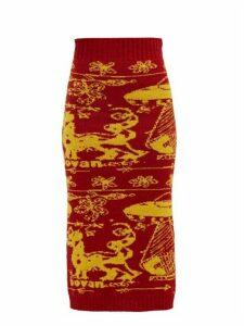 Matty Bovan - Ufo Jacquard Wool Midi Skirt - Womens - Red Multi