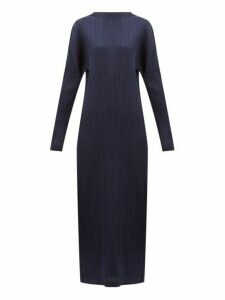 Pleats Please Issey Miyake - Tech Pleated Maxi Dress - Womens - Navy