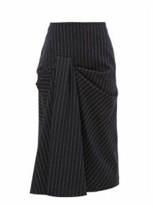 Alexander Mcqueen - Draped Pinstriped Wool Twill Skirt - Womens - Navy Stripe