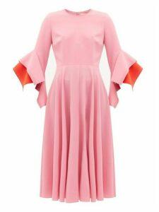 Roksanda - Ayres Draped Cuff Crepe Midi Dress - Womens - Light Pink