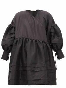 Cecilie Bahnsen - Ruffled Tiered Faille Wrap Dress - Womens - Black
