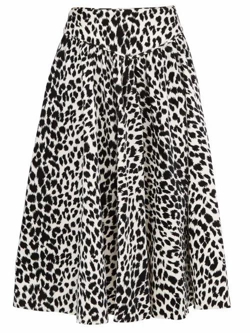 Batsheva - Leopard-print Velvet Midi Skirt - Womens - Leopard