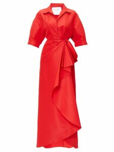 Carolina Herrera - Collared Draped Faille Gown - Womens - Red