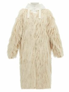 Moncler - Bouregreg Faux Shearling Overlay Quilted Coat - Womens - Ivory