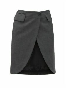 Mm6 Maison Margiela - Satin Panel Crepe Wrap Skirt - Womens - Grey Multi