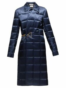 Bottega Veneta - Chain-embellished Quilted-satin Coat - Womens - Navy
