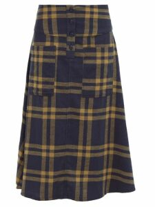 Ace & Jig - Maisie Cut Out Pocket A Line Cotton Skirt - Womens - Navy Multi