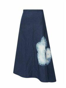 Jil Sander - Asymmetric Shibori Dyed Canvas Midi Skirt - Womens - Navy