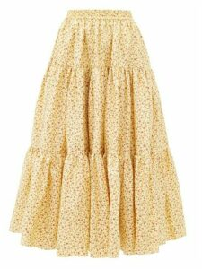 Batsheva - Amy Tiered Floral Print Cotton Poplin Midi Skirt - Womens - Yellow